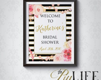Floral and Gold Striped Bridal Shower Welcome Sign Printable DIY No. I267