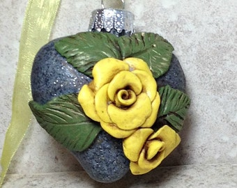 Gelbe Rose Ornament, gelbe Rose, Baumschmuck, gelbe Weihnachtsschmuck, rose Ornament, Urlaub ornament