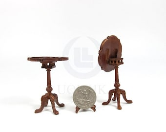 Miniature 1:12 Scale Doll House Tilt Top Wooden Tea Table [Finished in walnut]