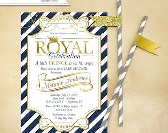 Little Prince Baby Shower Invitation Invite Printable Gold Navy