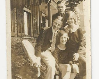 Vintage BW photo of two young couples