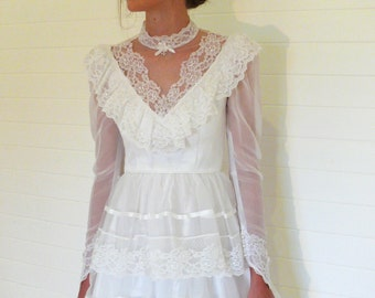 "SALE Vintage ruffled wedding dress, white net, ribbon and lace . . . ""Like"" our fb page for 10% discount"