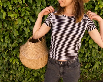 Vintage Black and White Striped Tee