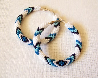 Beaded white and blue hoop earrings - Beadwork - beaded jewelry - seed beads earrings - Geometric pattern earrings - big hoop earrings