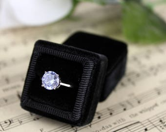 Vintage Ring Box in Midnight Black Velvet, Wedding Presentation Box, Bridesmaid Gift, Gift for the Bride