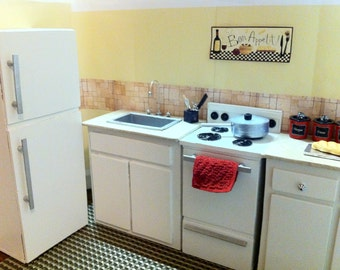 Doll Kitchen Sink / Stove / Refrigerator / Cabinets -  for Barbie/ Fashion Royalty/ Monster High Dolls
