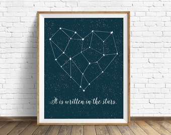 """wall art prints, instant download, printable art, heart, constellation, love, stars, quote art, quote prints - """"It is Written in the Stars"""""""