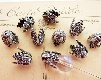 Antique Silver Victorian Scroll Filigree Long Bead Caps, Bead Cones, Tassel Ends 12mm Tall - 4
