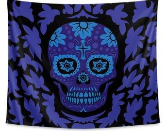 Día de Muertos Black Wall Tapestry