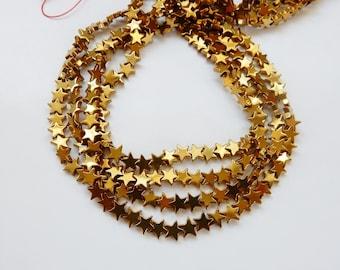 6mm Gold Hematite star beads , full strand (15 inches)