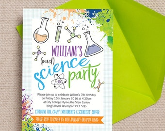 Personalised Mad Science Birthday Party Invitation Cards