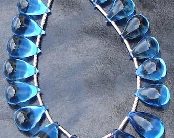 Royal Blue Quartz, Truly Rare,Gorgeous, Smooth Drops Shape Briolettes 10 Pcs 11-14mm Long,Great Item