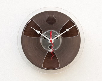 reel to reel clock, Recycled magnetic tape reel clock,  Audio geek gift, music lovers gift, upcycled industrial clock, Birthday gift idea