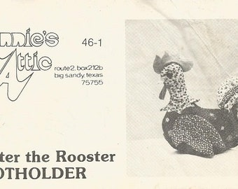 "Vintage Annie's Attic ""Brewster the Rooster"" Potholder Pattern"