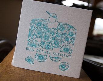 Card letterpress get well
