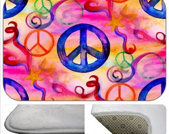 Peace sign bathmat from my art available in 4 sizes