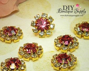 10 pcs 12mm Tiny PINK Crystal Rhinestone buttons Gold Flatback Headband Supplies flower centers invitations crystal bouquet  398020