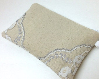 On Sale Lace Clutch, Bridesmaid Clutch Purse White and Silver Gray Lace on Natural Cotton