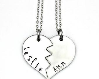 LESLIE ANN Best Friends Split Heart Necklace, Keychain, Charms Set