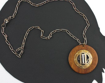 Wood & Metal Art Deco Inspired Vintage Necklace