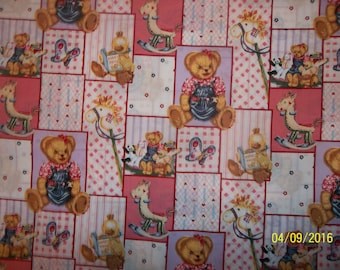 Blue Jean Teddy Blossom and Friends Patch 100% Cotton Fabric #10