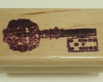 Key Wood Mounted Rubber Stamp