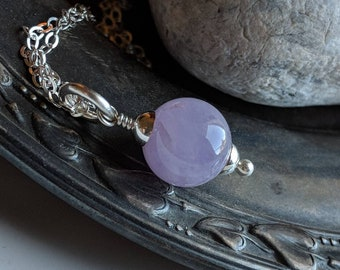 Violet amethyst sterling silver simple round stone solitaire necklace - handmade gemstone jewelry