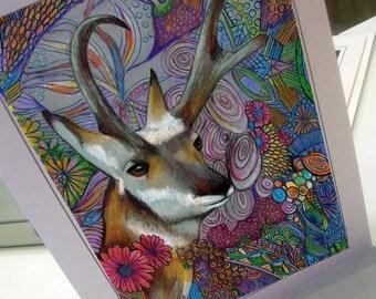 Greeting card print of original art- colorful antelope Zentangle