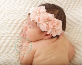 chiffon headband- baby shabby headband- flower headband -pink flower headband- baby headband- rhinestone headband- girls headband -newborn