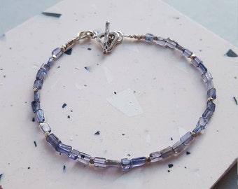 Hill tribe silver iolite bracelet