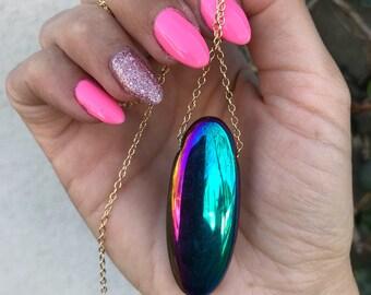 Rainbow Aura Quartz Oval Pendant with High quality 14 karat gold filled Round chain