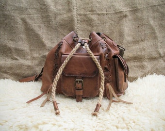 Handmade Leather Satchel / Brown Leather Purse / Hand Made Leather Shoulder Bag / Leather Boho Bag