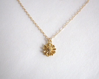 Small Flower Necklace, Little Flower Necklace, Gold Flower Necklace, Flower Necklace, Woodland Necklace,  - 14K Gold Filled Chain
