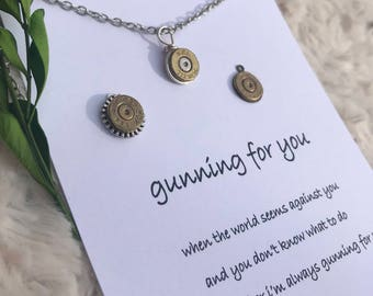 Bullet Necklace for Best Friend Jewelry Gift for Her Encouragement Gift Bullseye Bullet Earrings Shooting Gift Bullet Jewelry Gun Gift Ammo