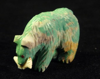 BEAR with Fish Fetish carving, Turquoise, by AVERY QUANDELACY, Zuni Pueblo Indian, Native American, New Mexico, stone Art Rock Sculpture