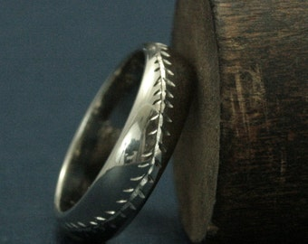 Baseball Ring--America's Pastime Band--Solid 14K White Gold Ring--Hand Cut Baseball Pattern Band--Unique Men's Wedding Ring--Sports Jewelry