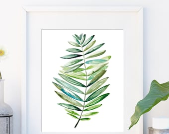 Tropical leaf print, Gift for her, Botanical art in watercolour, Leaf, Modern art green print, Minimalist tropical wall art large poster,