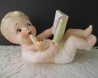 NAPCOWARE Baby Figurine * Baby Boy With Pipe And Book * 1960s