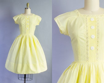 1950s Yellow Cotton Day Dress   Extra Small (34B/24W)