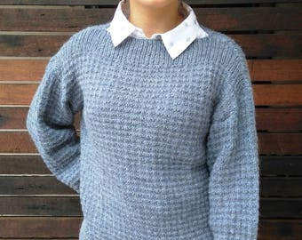 Lge Blue/Grey Hand Knitted Sweater from Alpaca Wool