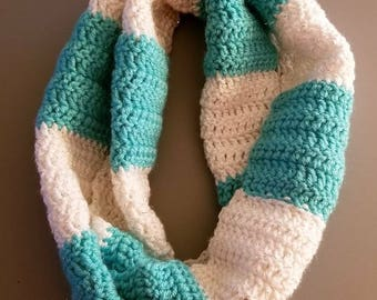 Crochet turquoise and sparkly white infinity scarf