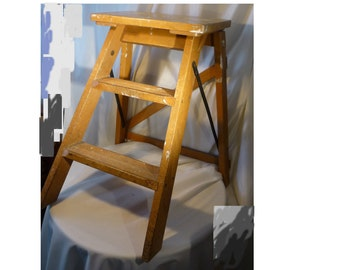 Vintage Mid Century Beech Wood Folding Kitchen Two Step Ladder Stool Display 22 inch Library Ladder Photographic Prop Plant Stand Home Decor