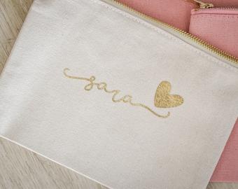 Bridesmaid Cosmetic Bag, Personalized Makeup Bag, Bridesmaid Gift, Make up Bag (BR036)