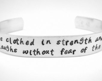 Proverbs 31 bible verse scripture bracelet, strength and dignity Christian jewelry, Mother gift, hand stamped aluminum inspirational cuff