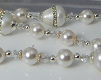 WHITE PEARL Rosary Catholic Rosary First Communion Gift Confirmation Rosary Beads Bridal Bouquet Rosary Religious Gift Godparent Gift
