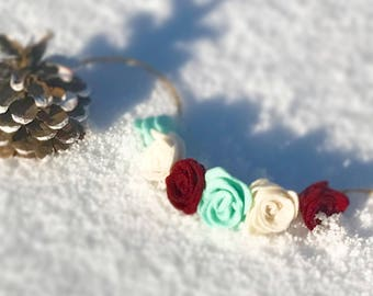 Cranberry Ivory and Teal Felt Flower Headband: Christmas/WInter