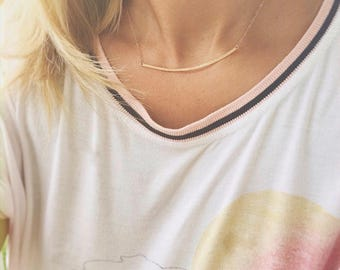 Gold Curved Bar Necklace, Curved Bar Necklace, Choker Necklace, Bar Necklace, Minimal Pendant Necklace, Curve Necklace