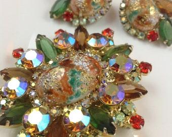 D&E aka Juliana Easter Egg Brooch and Earrings Set