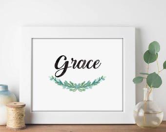 Grace Garland Watercolor - Digital Print Download, Wall Art, Typography print, Printable Quote, Art Print