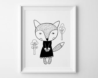 Fox in a dress, wall art prints, Scandinavian art, nursery decor, nursery poster, black and white art, nursery prints, Scandinanvian design